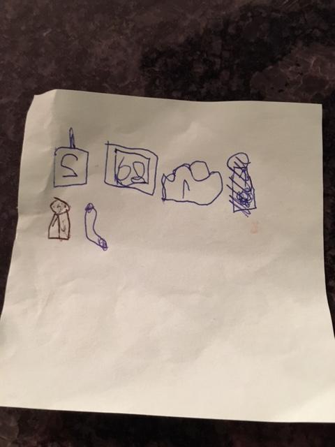 oben: 2 Smoothies, 6 oder 8 Biberli (das ist Süssgebäck), 1 Zopf, unten: 1 Fruchtsaft für Copperfield, Wiener Würstchen